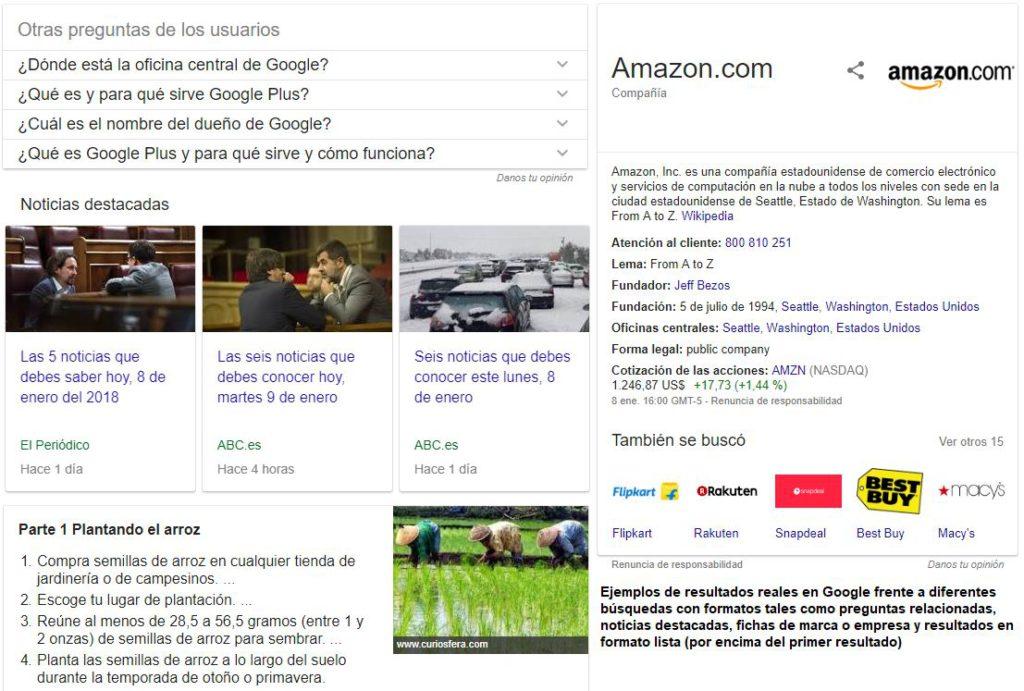 Diferentes formatos de los resultados en Google.
