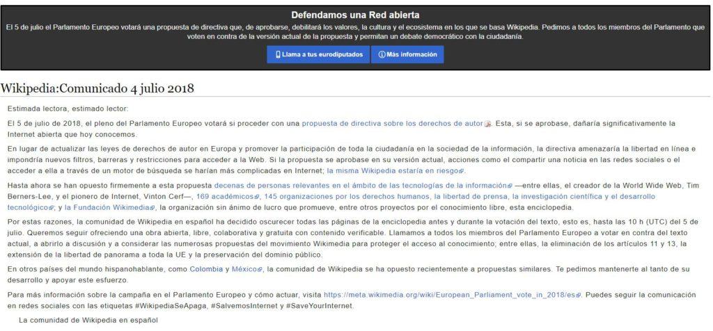 Derechos de autor en la UE: protesta Wikipedia