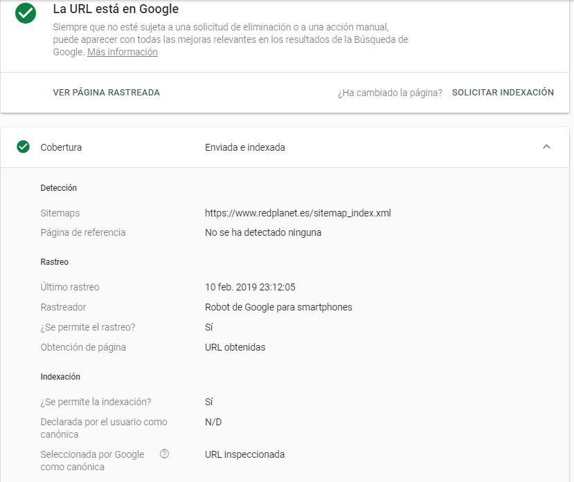 Herramienta de inspección de urls de Google.