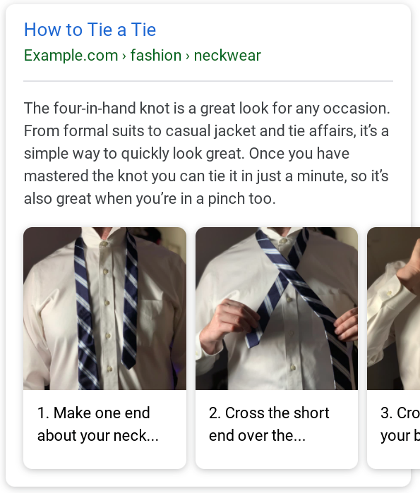 Un ejemplo de resultado en Google con los pasos en imágenes.