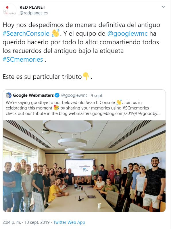 Despedida antiguo Search Console