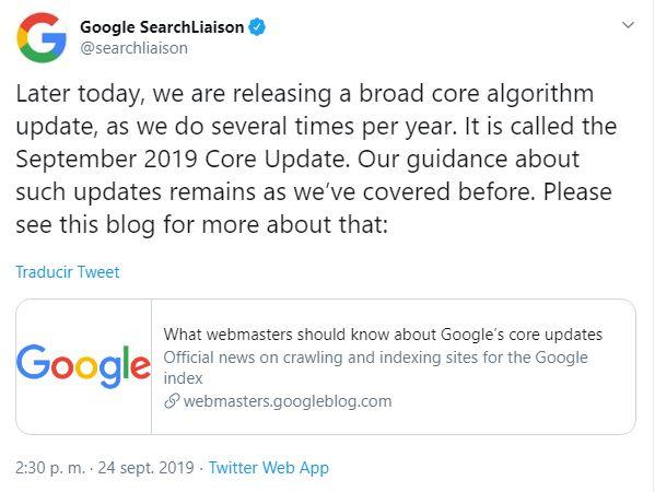 Aviso del Google Core Update de Septiembre